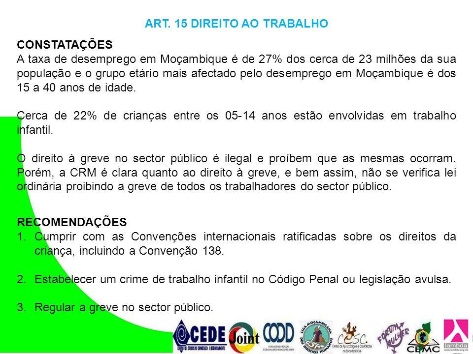 ART. 15 DIREITO AO TRABALHO