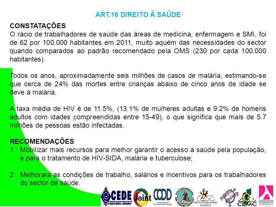 ART.16 DIREITO À SAÚDE CONSTATAÇÕES.