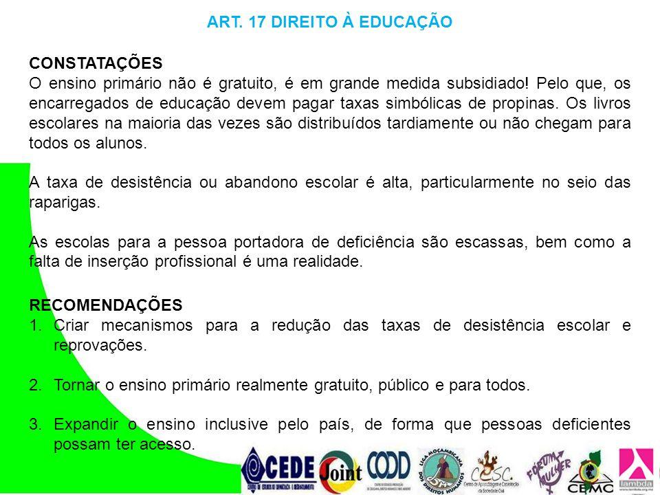 ART. 17 DIREITO À EDUCAÇÃO CONSTATAÇÕES.