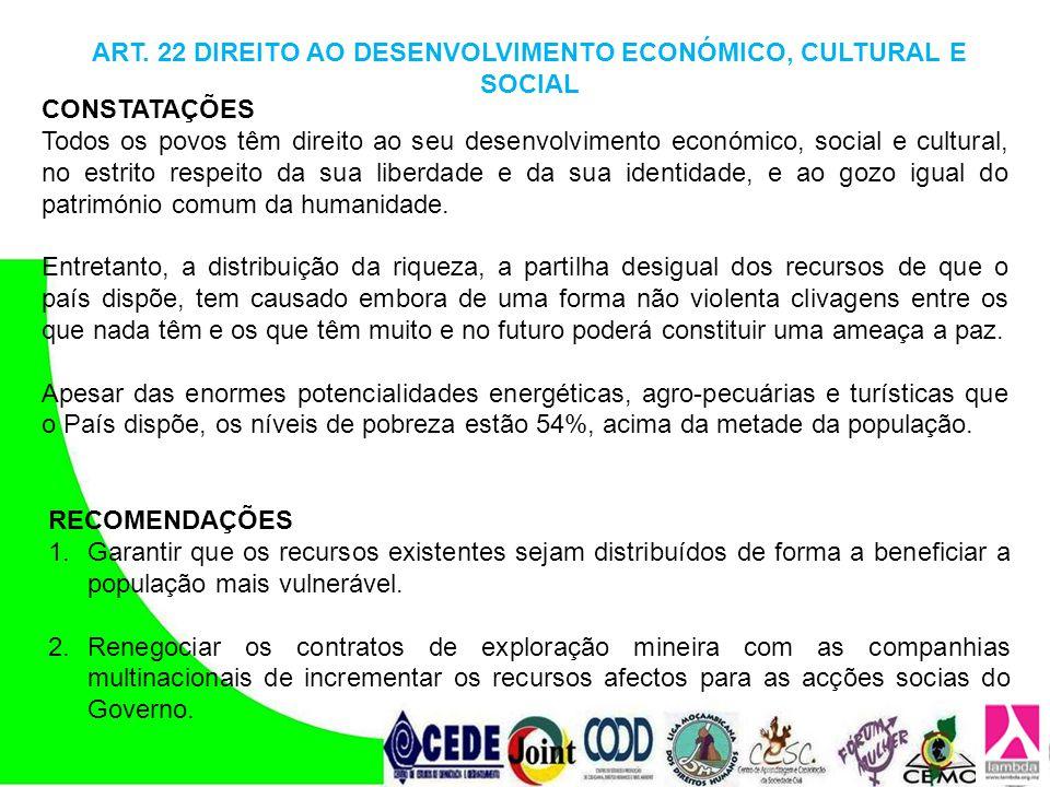 ART. 22 DIREITO AO DESENVOLVIMENTO ECONÓMICO, CULTURAL E SOCIAL