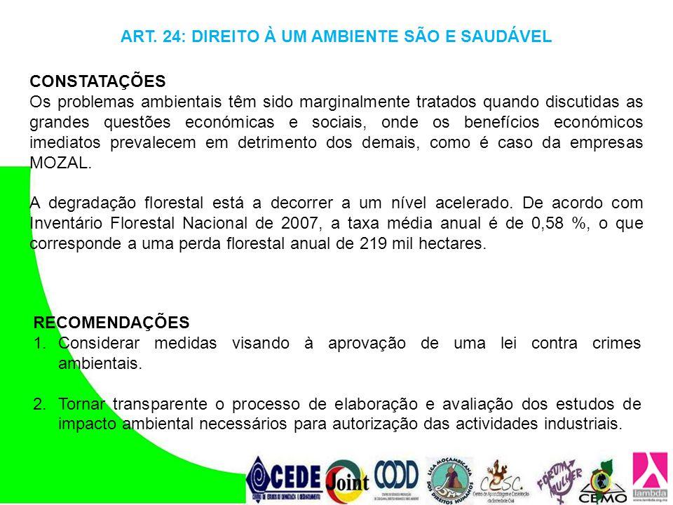 ART. 24: DIREITO À UM AMBIENTE SÃO E SAUDÁVEL