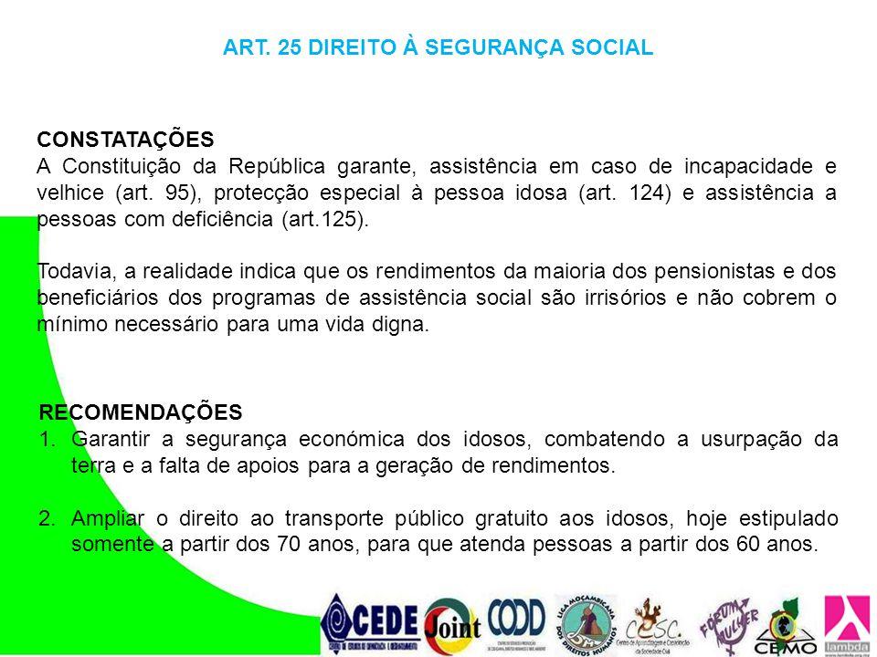 ART. 25 DIREITO À SEGURANÇA SOCIAL
