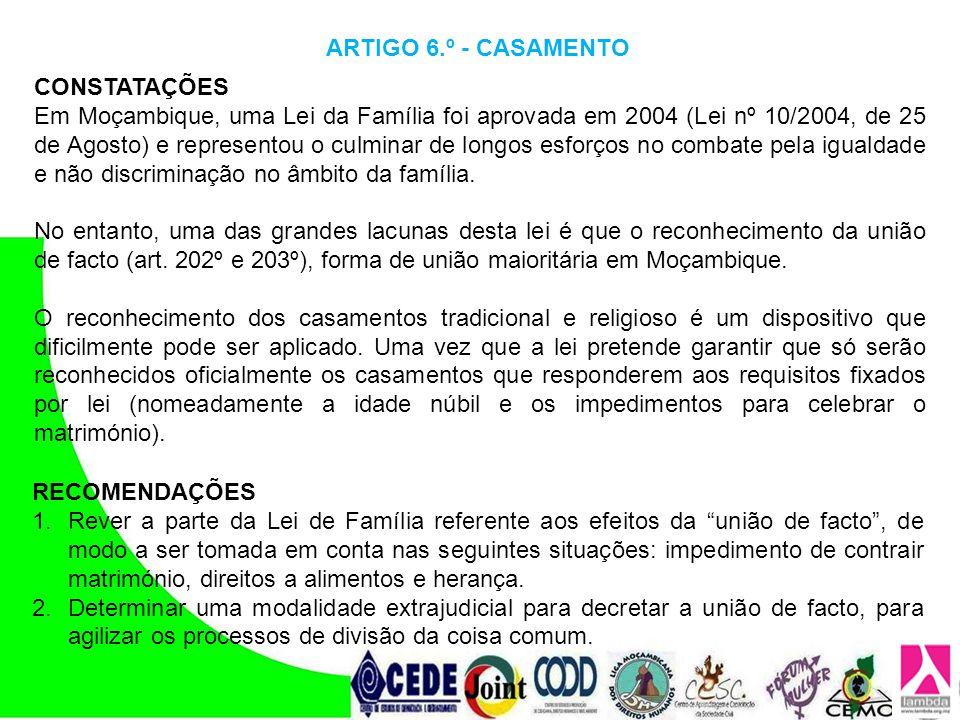 ARTIGO 6.º - CASAMENTO CONSTATAÇÕES.