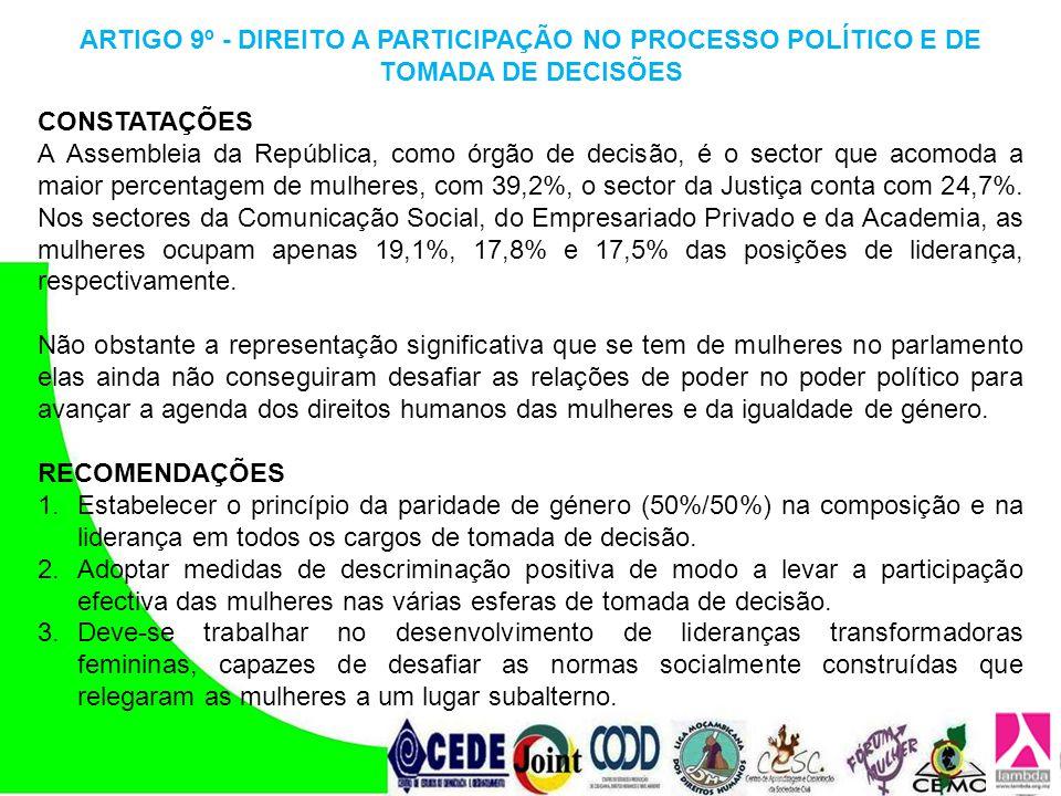 ARTIGO 9º - DIREITO A PARTICIPAÇÃO NO PROCESSO POLÍTICO E DE TOMADA DE DECISÕES
