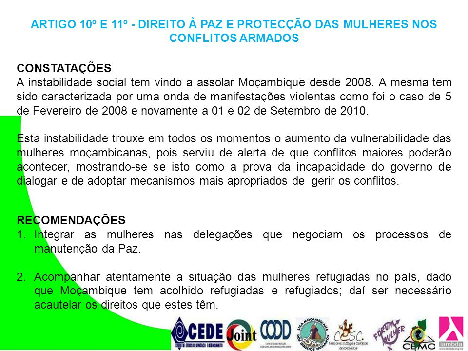 ARTIGO 10º E 11º - DIREITO À PAZ E PROTECÇÃO DAS MULHERES NOS CONFLITOS ARMADOS