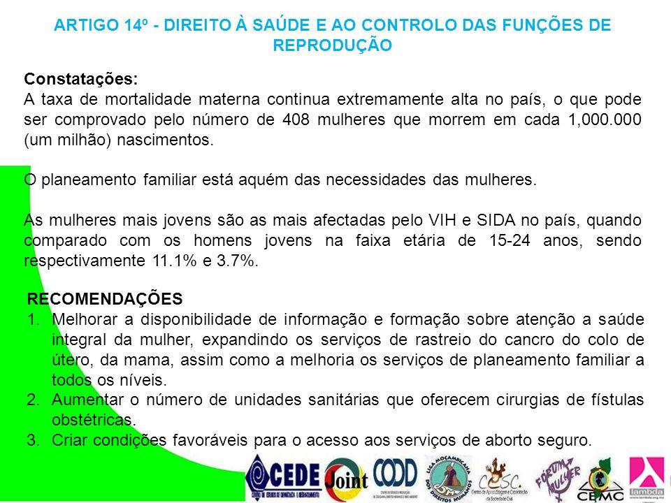 ARTIGO 14º - DIREITO À SAÚDE E AO CONTROLO DAS FUNÇÕES DE REPRODUÇÃO