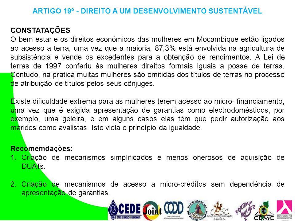 ARTIGO 19º - DIREITO A UM DESENVOLVIMENTO SUSTENTÁVEL