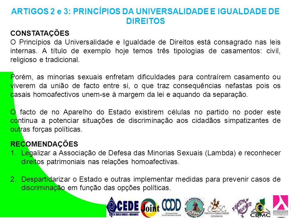 ARTIGOS 2 e 3: PRINCÍPIOS DA UNIVERSALIDADE E IGUALDADE DE DIREITOS