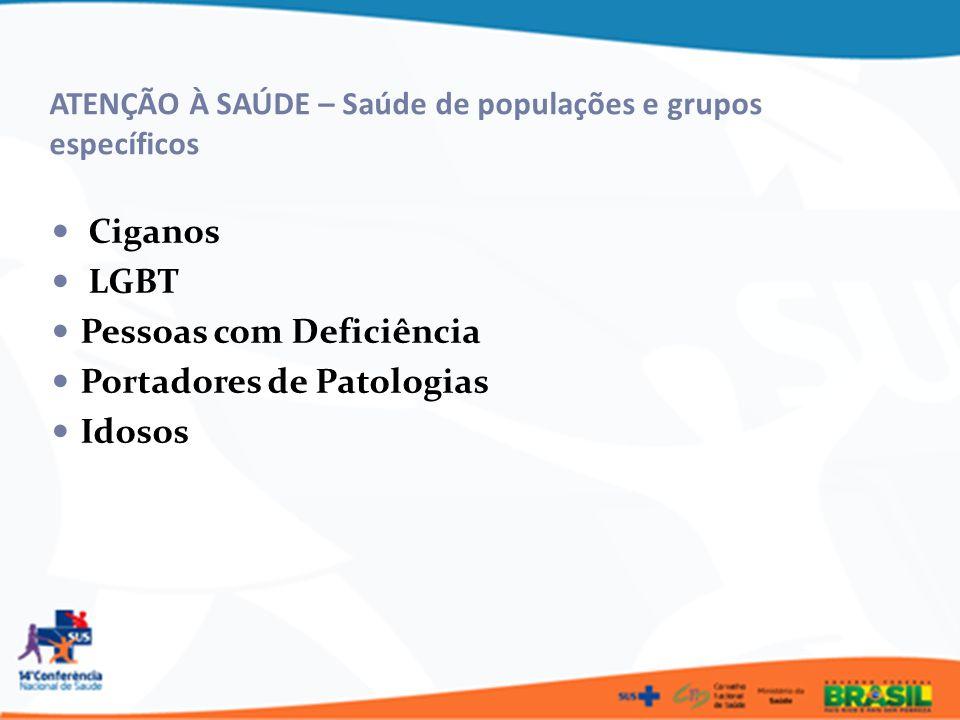 ATENÇÃO À SAÚDE – Saúde de populações e grupos específicos