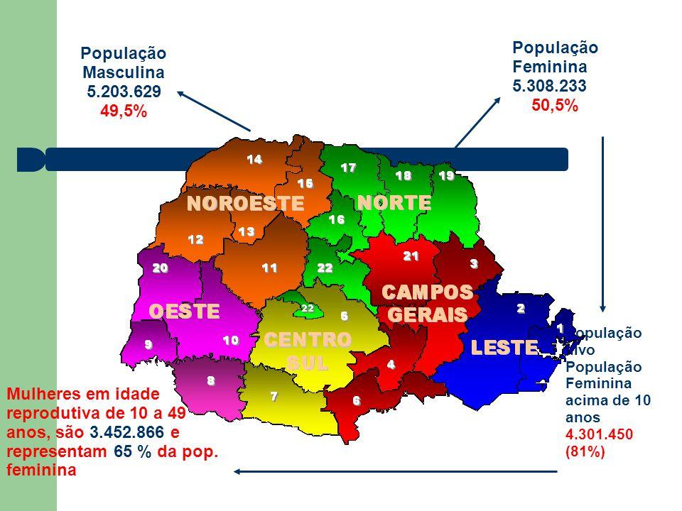 População Feminina População Masculina 5.308.233 5.203.629 50,5% 49,5%