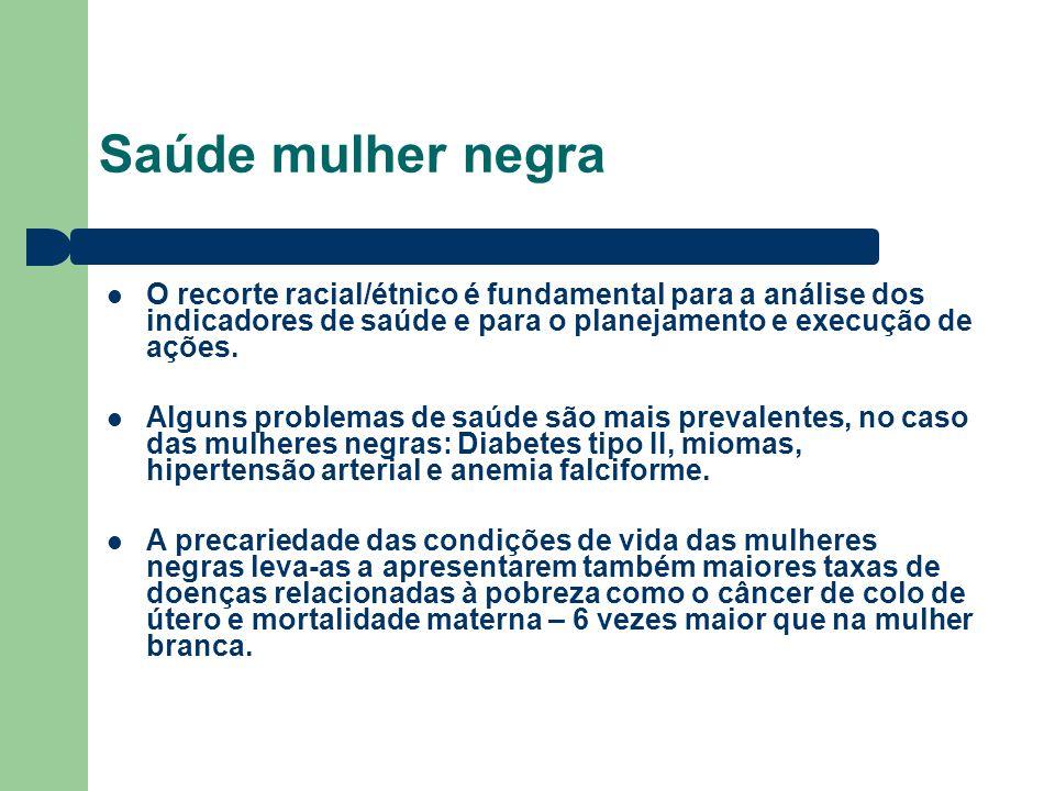 Saúde mulher negra O recorte racial/étnico é fundamental para a análise dos indicadores de saúde e para o planejamento e execução de ações.