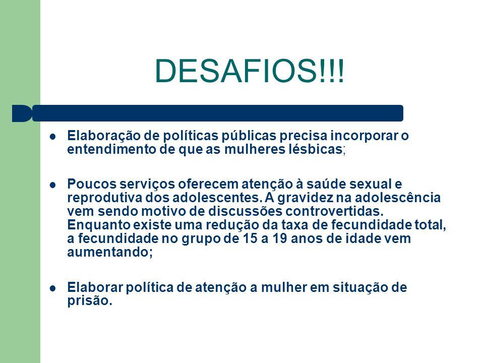 DESAFIOS!!! Elaboração de políticas públicas precisa incorporar o entendimento de que as mulheres lésbicas;