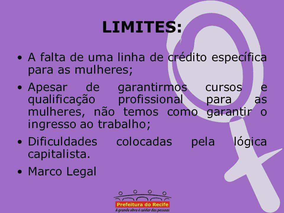 LIMITES: A falta de uma linha de crédito específica para as mulheres;
