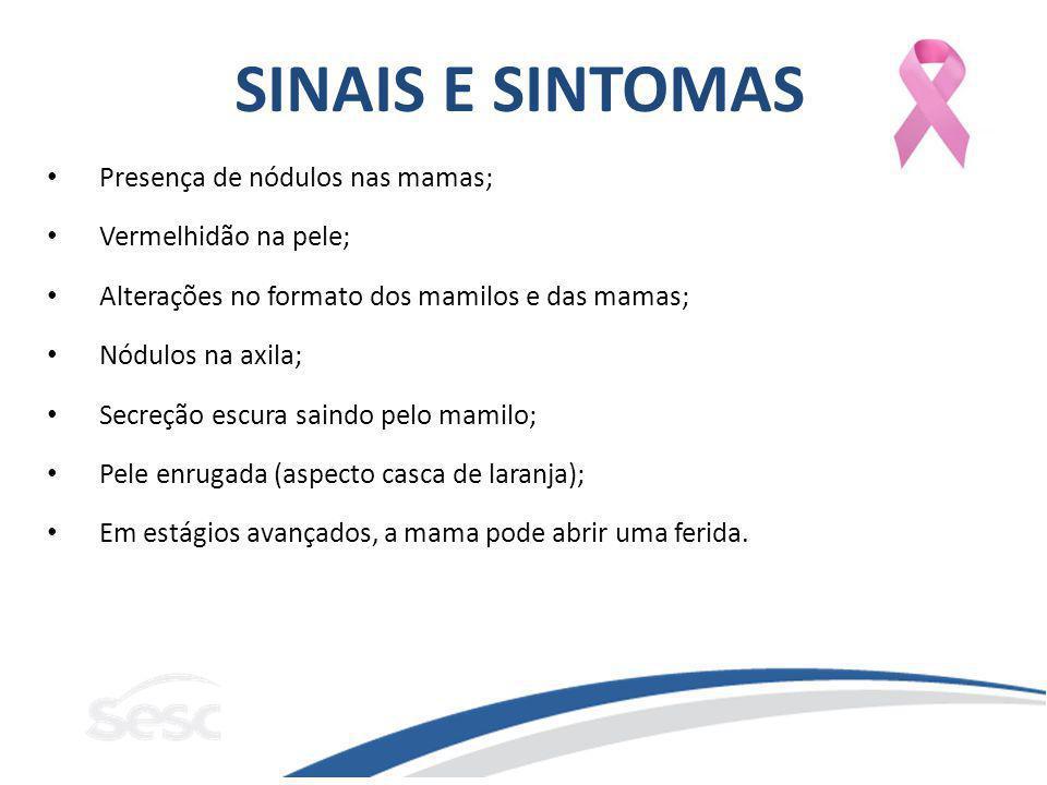 SINAIS E SINTOMAS Presença de nódulos nas mamas; Vermelhidão na pele;