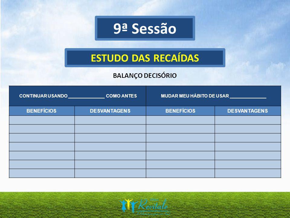 9ª Sessão ESTUDO DAS RECAÍDAS BALANÇO DECISÓRIO BENEFÍCIOS