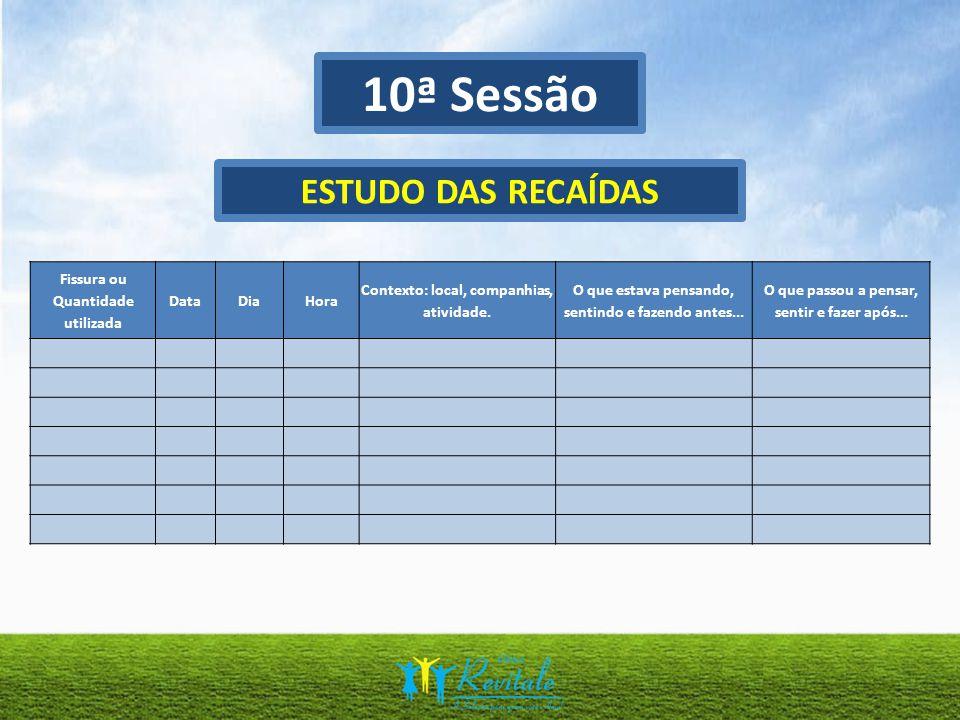 10ª Sessão ESTUDO DAS RECAÍDAS Fissura ou Quantidade utilizada Data