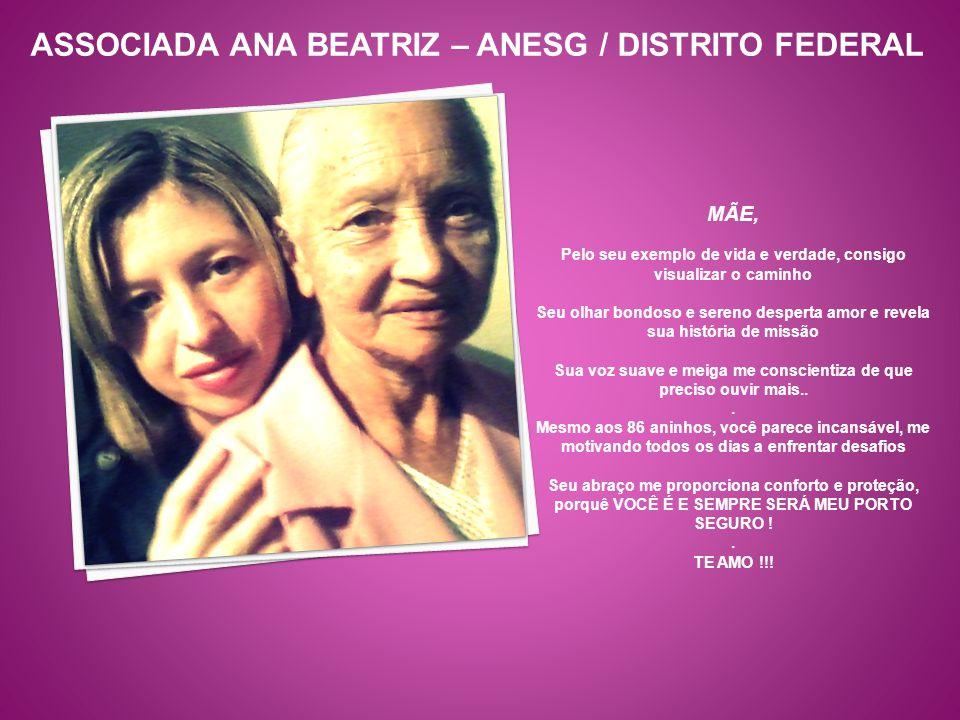 ASSOCIADA ANA BEATRIZ – ANESG / DISTRITO FEDERAL