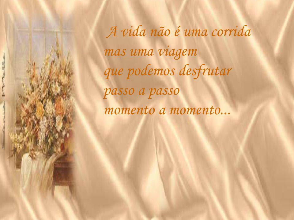 A vida não é uma corrida mas uma viagem que podemos desfrutar passo a passo momento a momento...