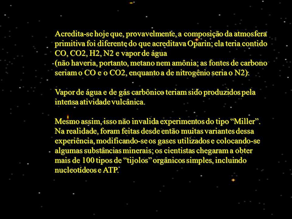 Acredita-se hoje que, provavelmente, a composição da atmosfera primitiva foi diferente do que acreditava Oparin; ela teria contido CO, CO2, H2, N2 e vapor de água