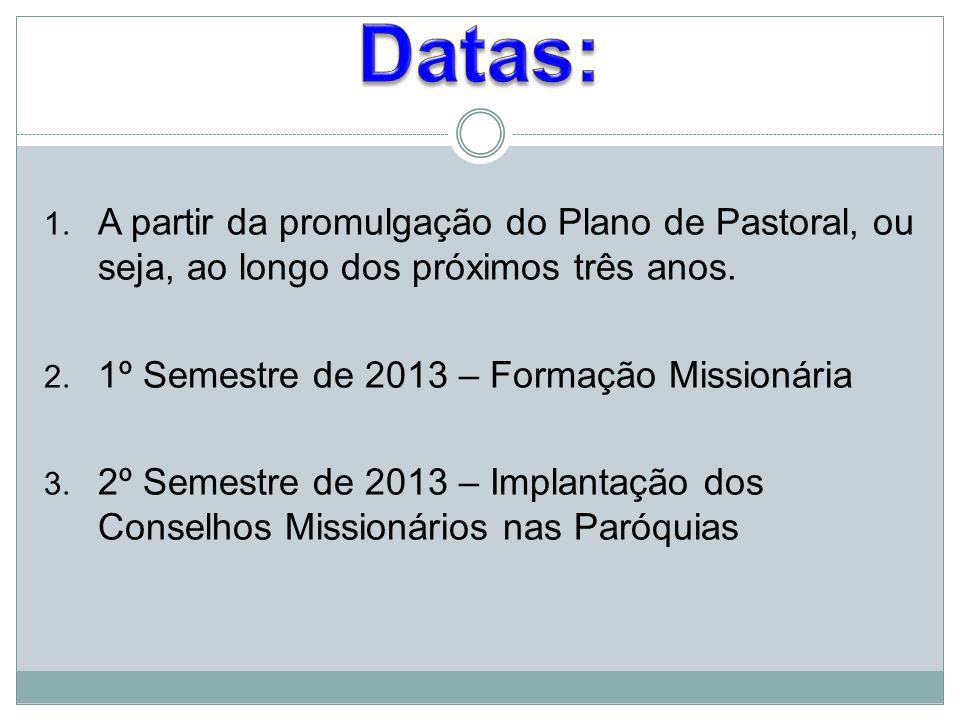 Datas: A partir da promulgação do Plano de Pastoral, ou seja, ao longo dos próximos três anos. 1º Semestre de 2013 – Formação Missionária.