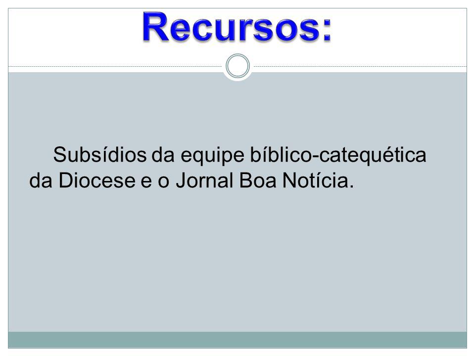 Recursos: Subsídios da equipe bíblico-catequética da Diocese e o Jornal Boa Notícia.