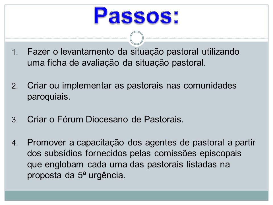 Passos: Fazer o levantamento da situação pastoral utilizando uma ficha de avaliação da situação pastoral.