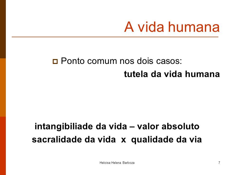 A vida humana Ponto comum nos dois casos: tutela da vida humana