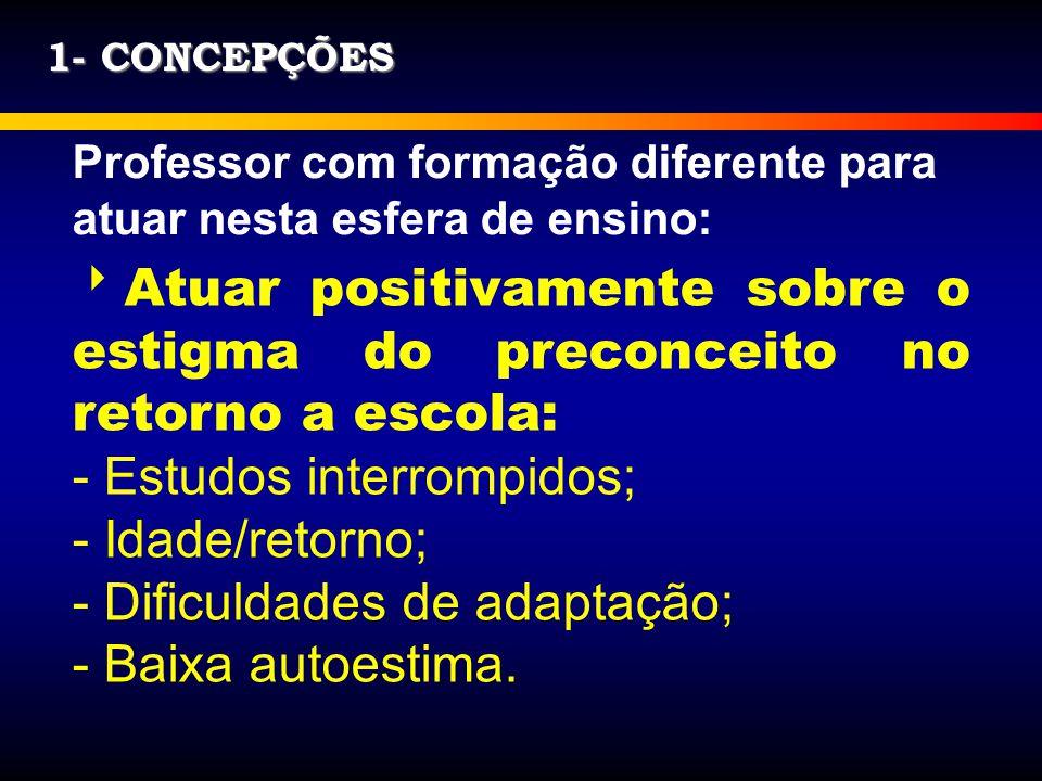 Estudos interrompidos; Idade/retorno; Dificuldades de adaptação;