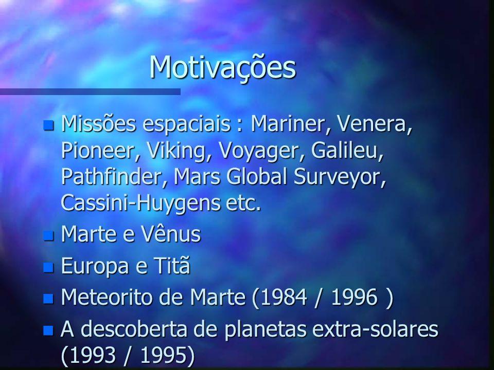 Motivações Missões espaciais : Mariner, Venera, Pioneer, Viking, Voyager, Galileu, Pathfinder, Mars Global Surveyor, Cassini-Huygens etc.