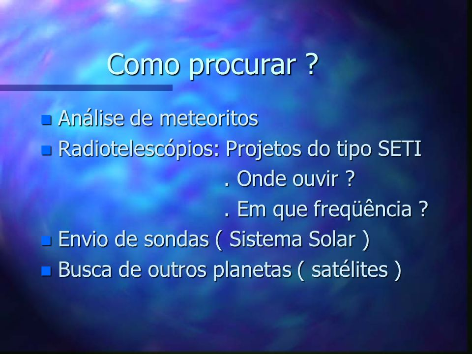 Como procurar Análise de meteoritos