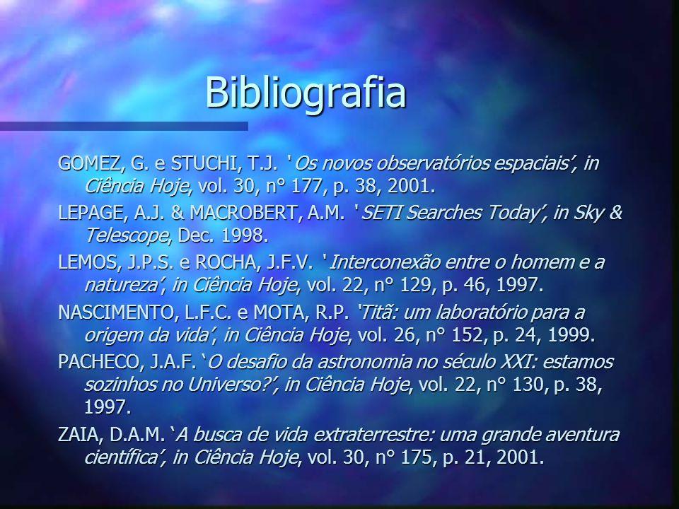 Bibliografia GOMEZ, G. e STUCHI, T.J. ' Os novos observatórios espaciais', in Ciência Hoje, vol. 30, n° 177, p. 38, 2001.