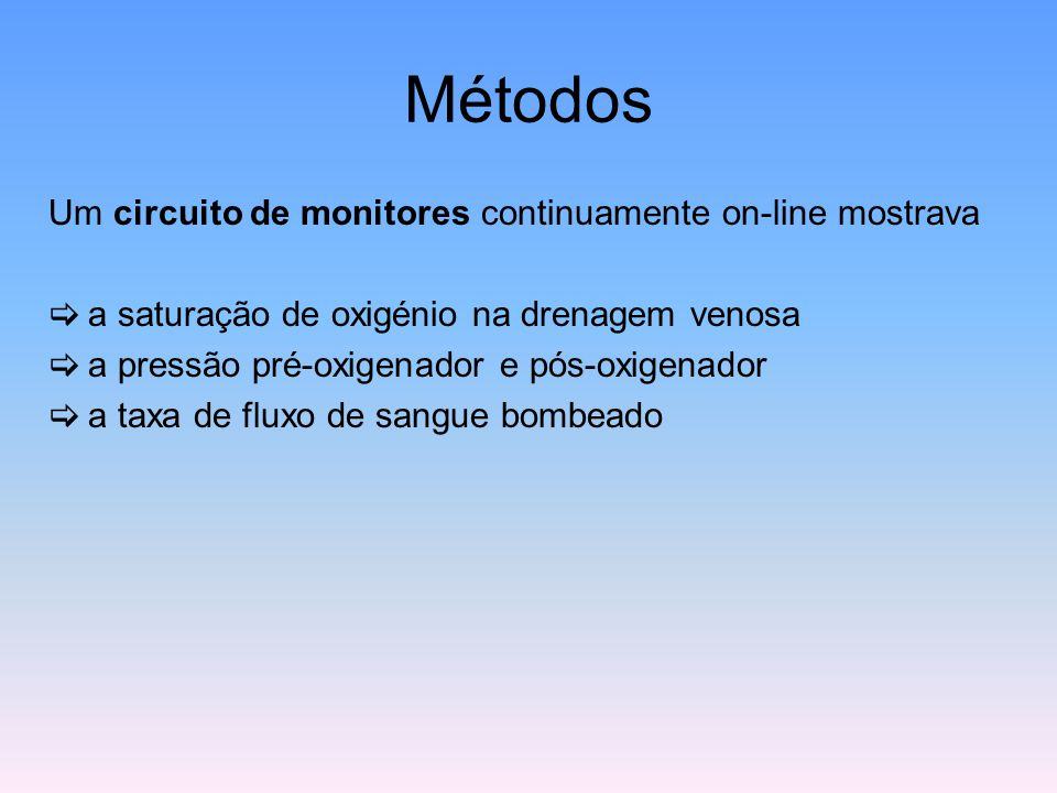 Métodos Um circuito de monitores continuamente on-line mostrava