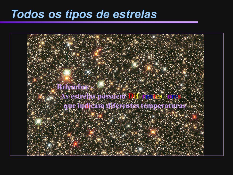 Todos os tipos de estrelas