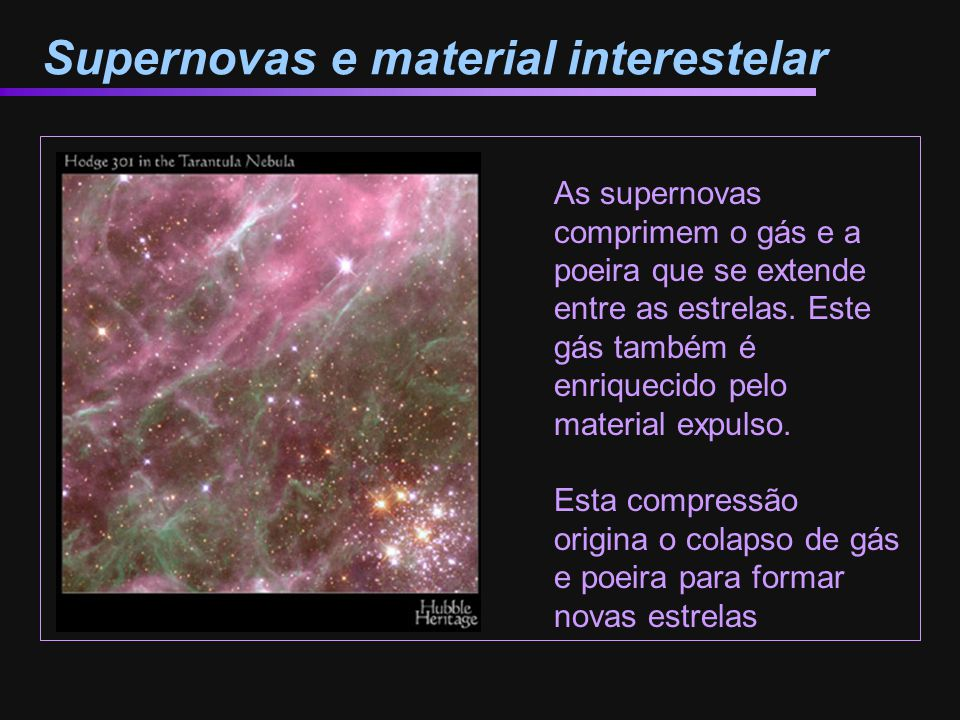 Supernovas e material interestelar