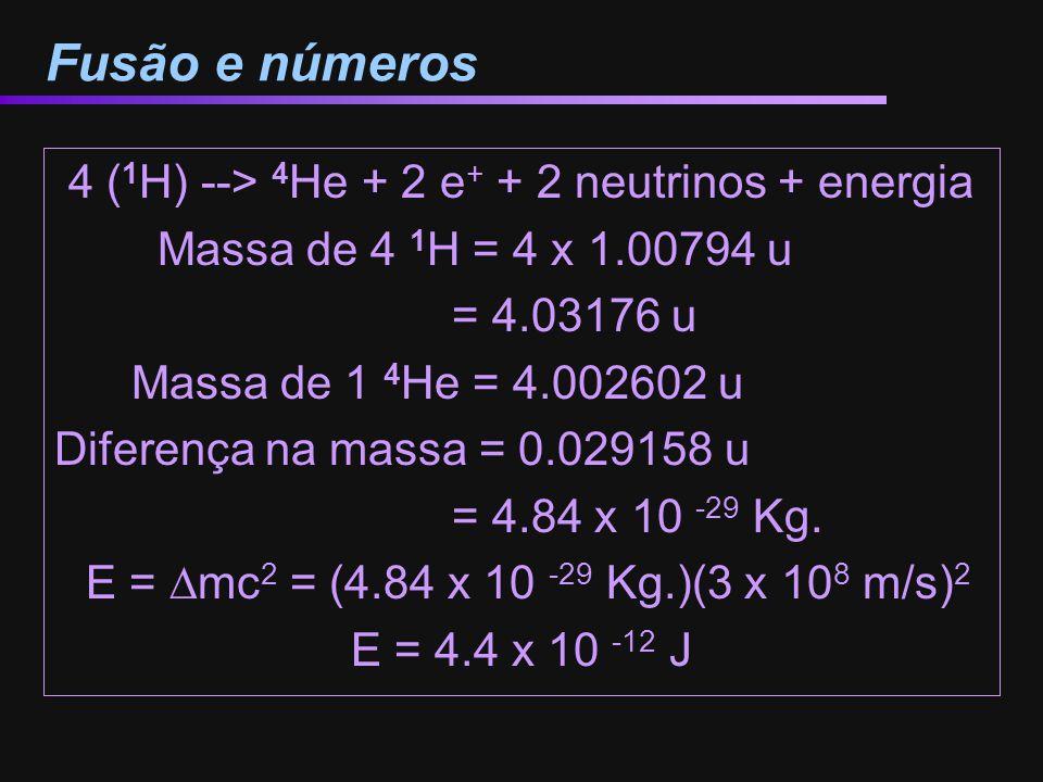 4 (1H) --> 4He + 2 e+ + 2 neutrinos + energia
