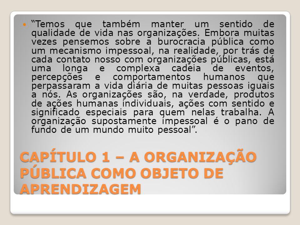 CAPÍTULO 1 – A ORGANIZAÇÃO PÚBLICA COMO OBJETO DE APRENDIZAGEM