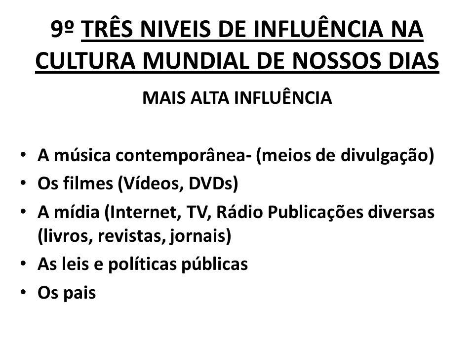 9º TRÊS NIVEIS DE INFLUÊNCIA NA CULTURA MUNDIAL DE NOSSOS DIAS