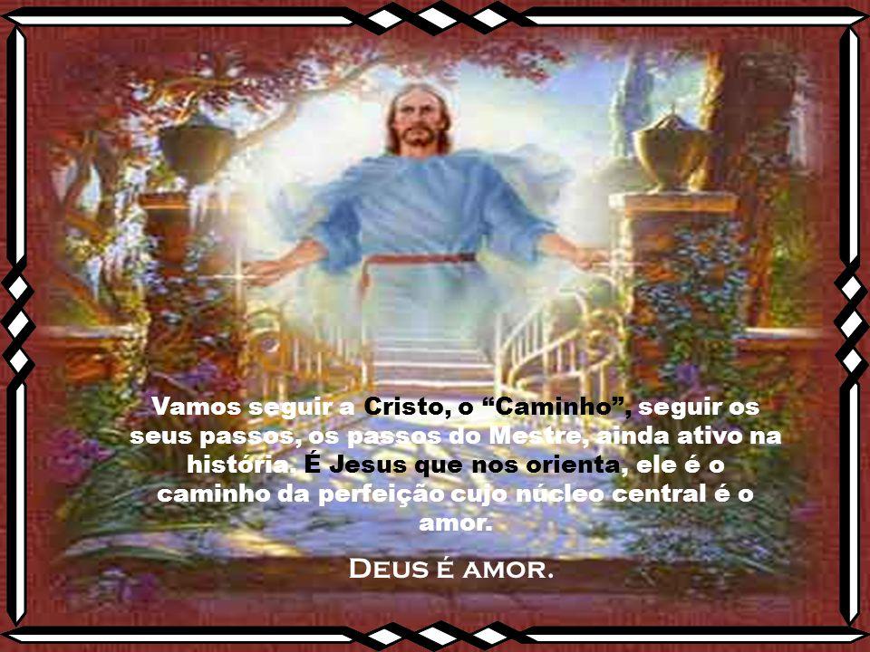 Vamos seguir a Cristo, o Caminho , seguir os seus passos, os passos do Mestre, ainda ativo na história. É Jesus que nos orienta, ele é o caminho da perfeição cujo núcleo central é o amor.