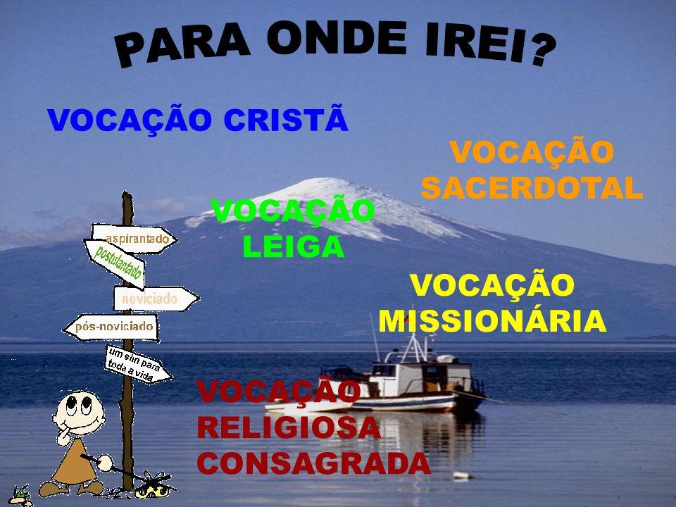 PARA ONDE IREI VOCAÇÃO CRISTÃ VOCAÇÃO SACERDOTAL VOCAÇÃO LEIGA