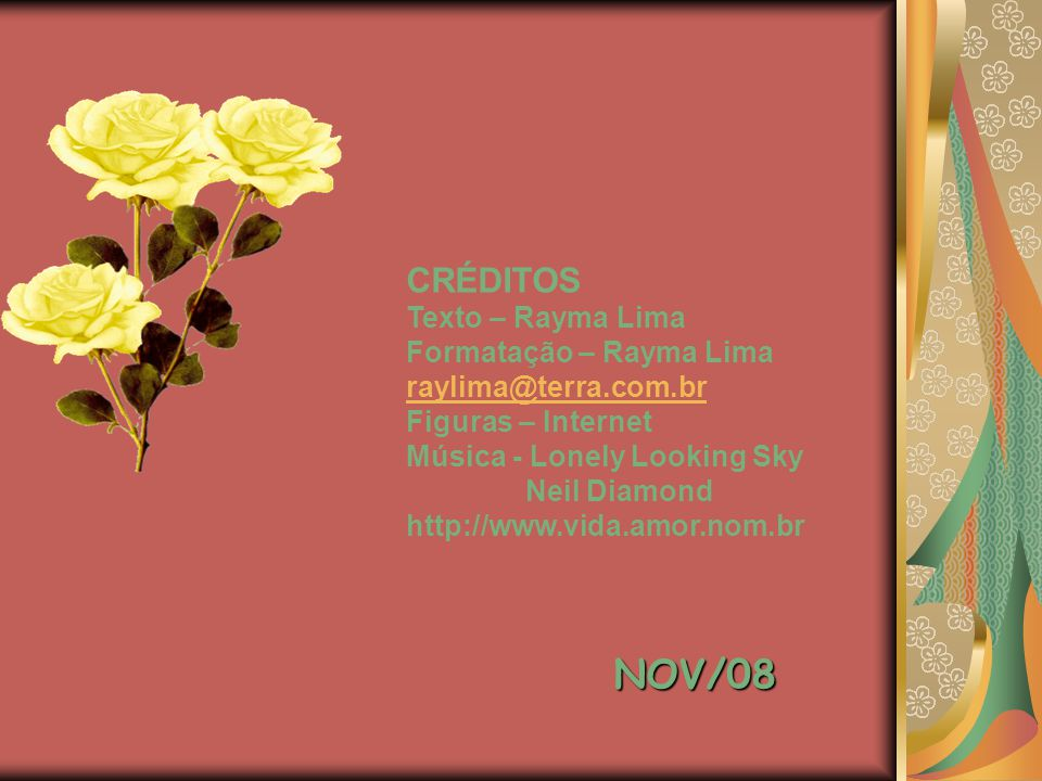 NOV/08 CRÉDITOS Texto – Rayma Lima Formatação – Rayma Lima