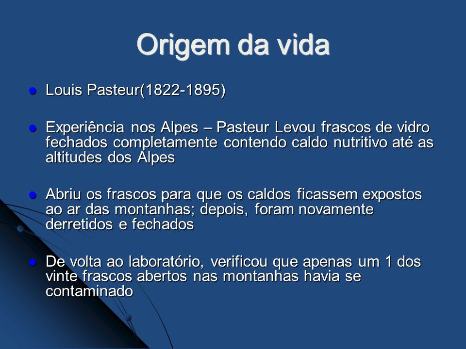 Origem da vida Louis Pasteur(1822-1895)