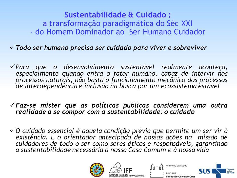 Sustentabilidade & Cuidado : a transformação paradigmática do Séc XXI - do Homem Dominador ao Ser Humano Cuidador