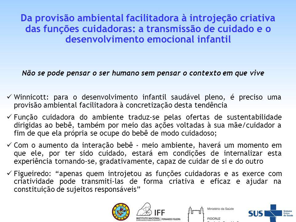 Da provisão ambiental facilitadora à introjeção criativa das funções cuidadoras: a transmissão de cuidado e o desenvolvimento emocional infantil