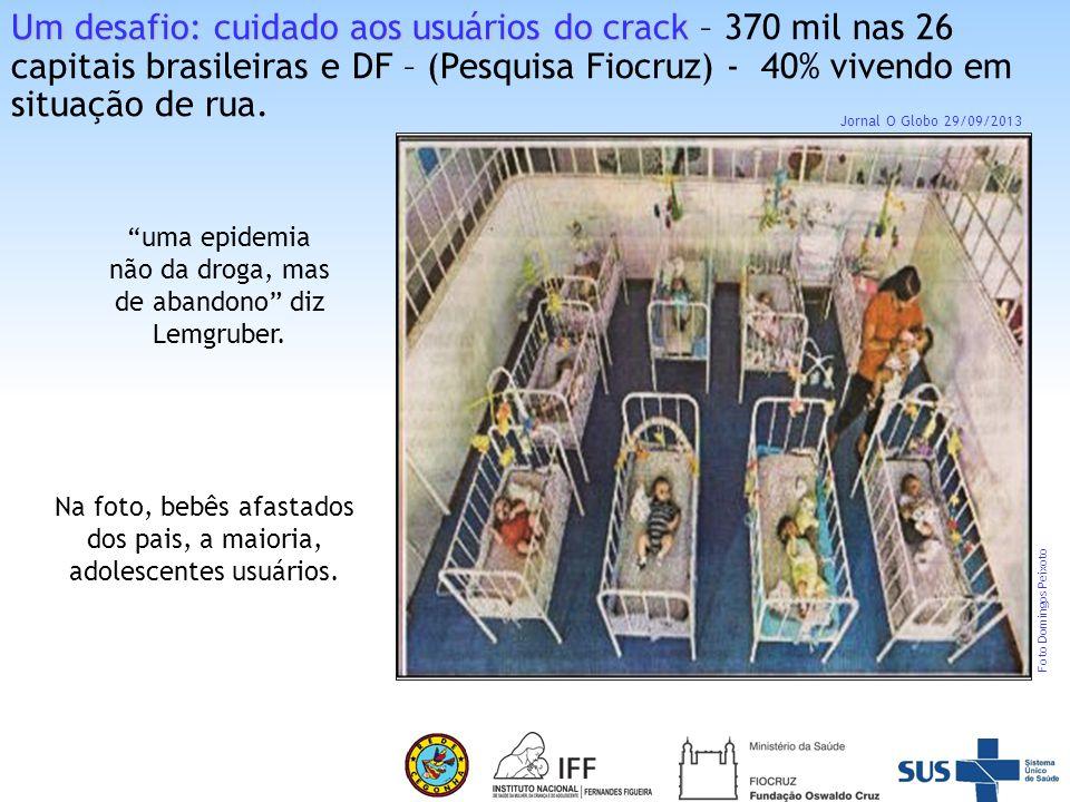 Um desafio: cuidado aos usuários do crack – 370 mil nas 26 capitais brasileiras e DF – (Pesquisa Fiocruz) - 40% vivendo em situação de rua.