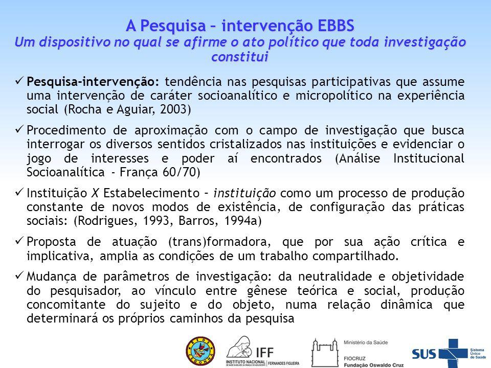 A Pesquisa – intervenção EBBS Um dispositivo no qual se afirme o ato político que toda investigação constitui