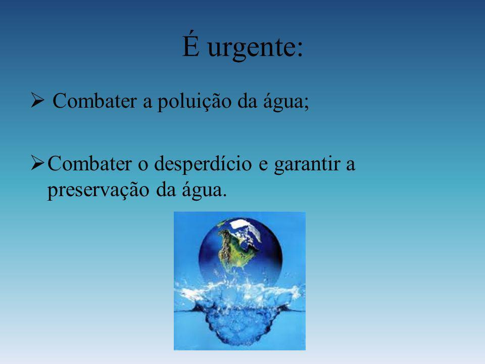 É urgente: Combater a poluição da água;
