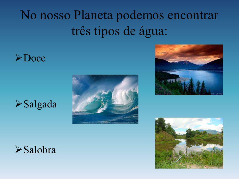 No nosso Planeta podemos encontrar três tipos de água: