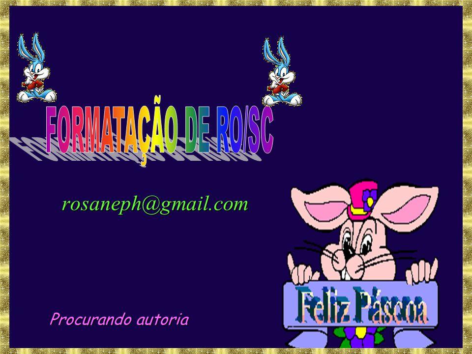 FORMATAÇÃO DE RO/SC rosaneph@gmail.com Procurando autoria