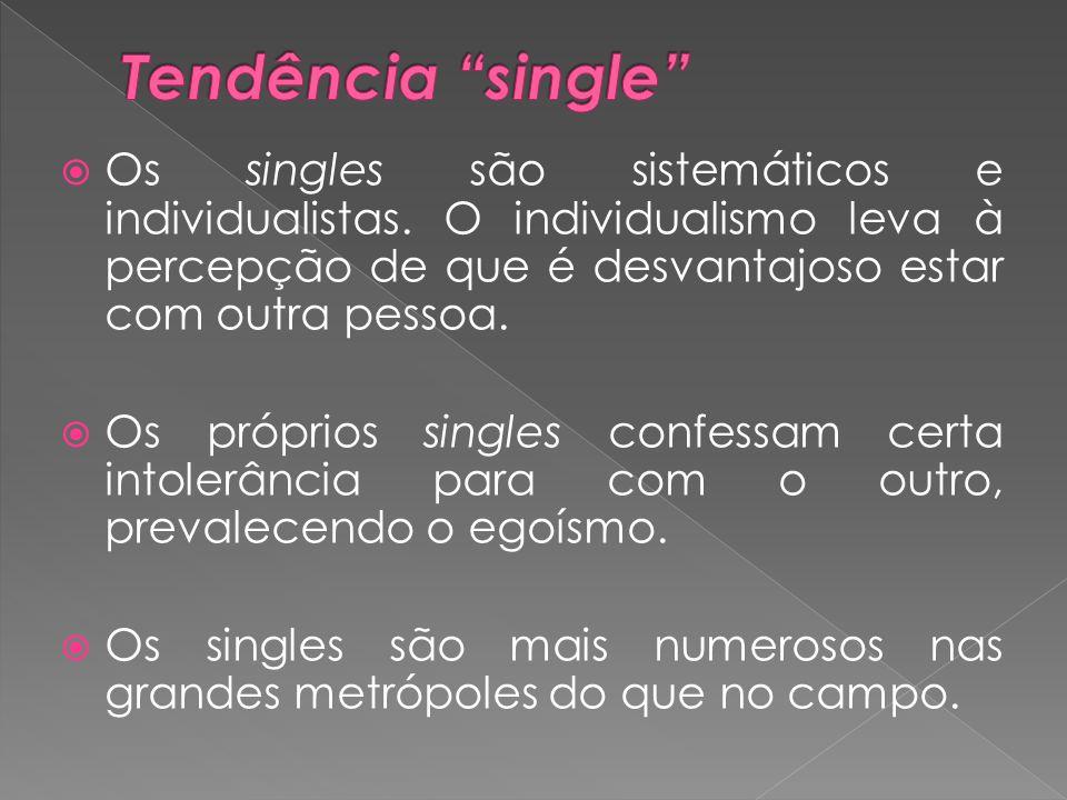 Tendência single Os singles são sistemáticos e individualistas. O individualismo leva à percepção de que é desvantajoso estar com outra pessoa.