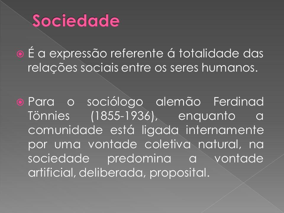 Sociedade É a expressão referente á totalidade das relações sociais entre os seres humanos.